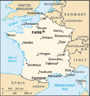 Map Of France With City Names.Francofiles France Towns French Cities